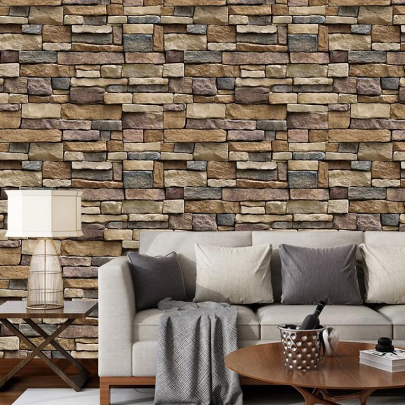 3 M / 5 M / 10 M Retro Tuğla Taş Duvar Kağıdı Rulo PVC Kendinden Yapışkanlı İletişim Kağıt Su Geçirmez Oturma Odası TV Arka Plan Duvar Dekor Duvar Kağıtları