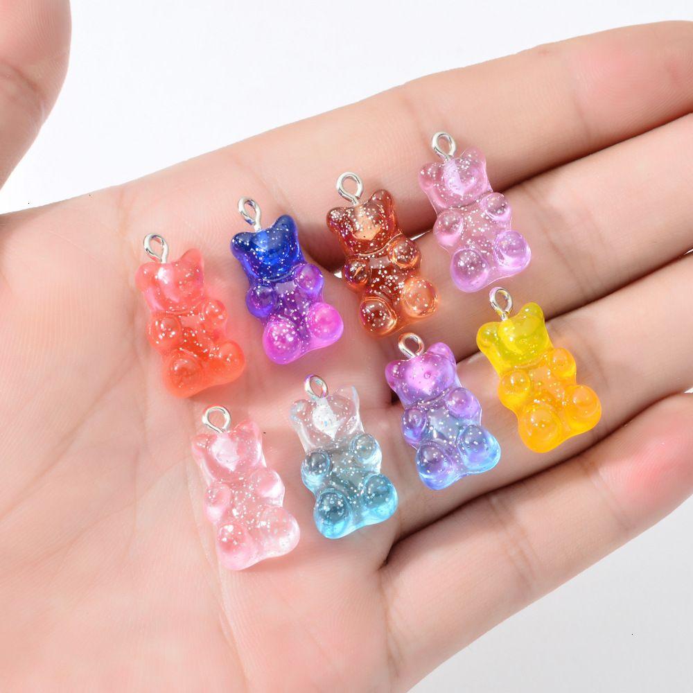 قلادة الدب الراتنج الملونة الحلوى اللامع الاكسسوارات اليدوية نيلاس سوار الأقراط قلادة