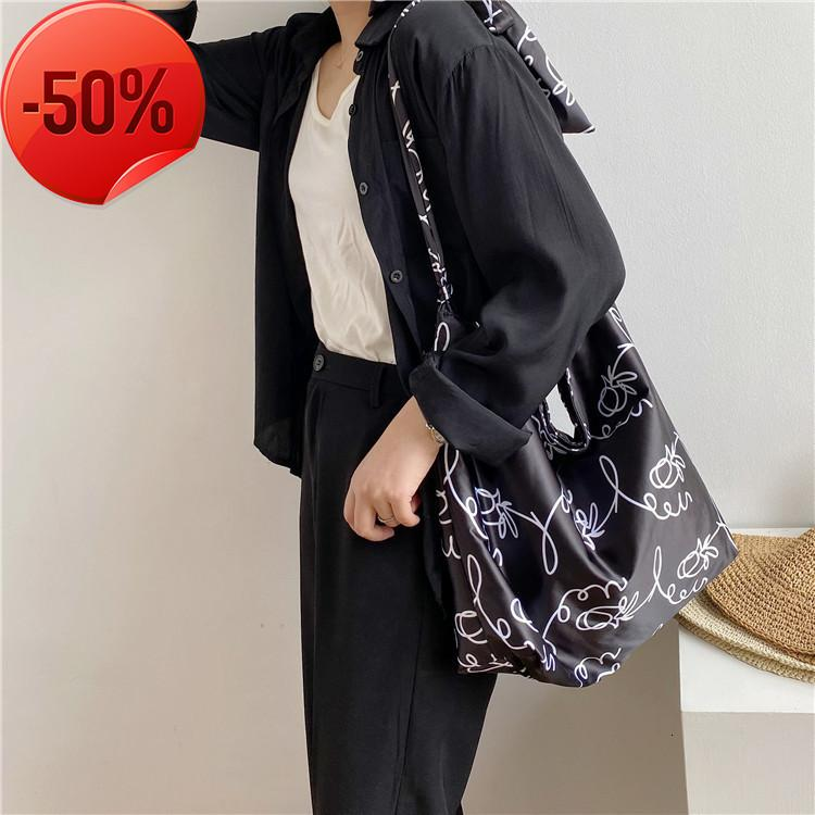 Ins women's bag 2021 new messenger large capacity nylon personalized shoulder bandage Printed Tote Bag