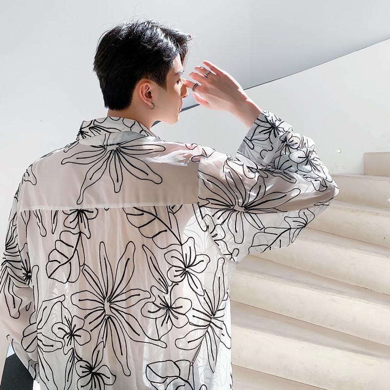 Men's Casual Shirts Streetwear Vintage Fashion Loose Sunscreen Jacket Men Summer Translucent Long Sleeve Thin Shirt Male