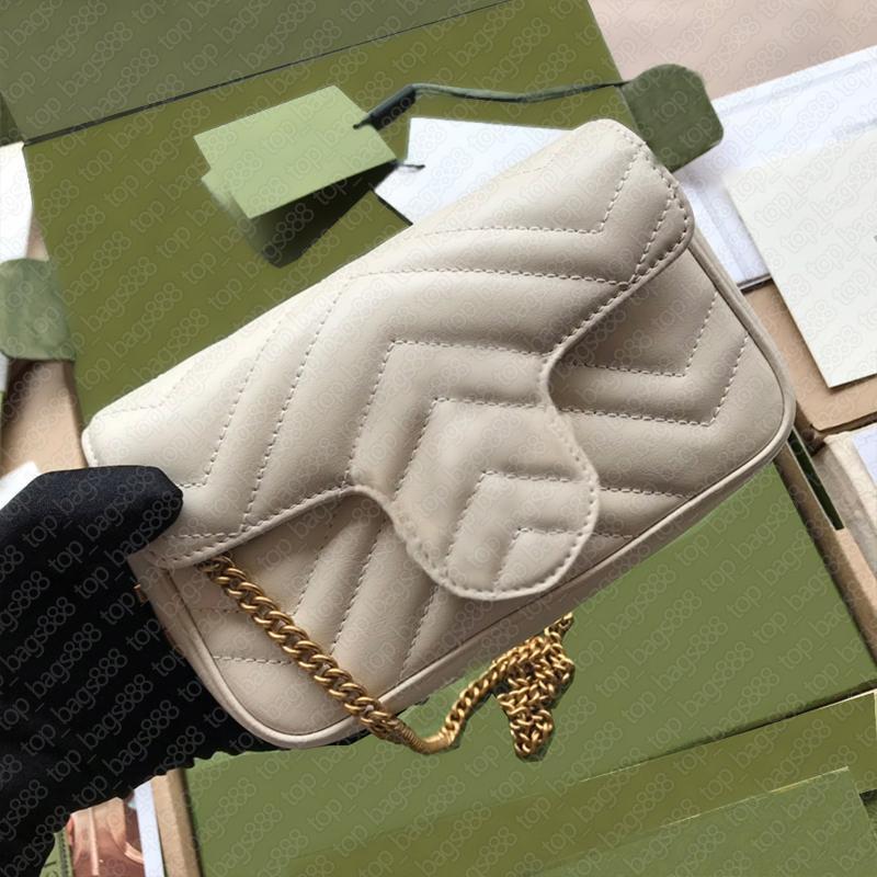 Designer Womens Handtaschen Super Mini Geldbörsen Taschen Top Qualität Herzen Zig Zag Gesteppted White Echtes Leder Crossbody Supermini Marmon Kette Schultergürtel Tasche