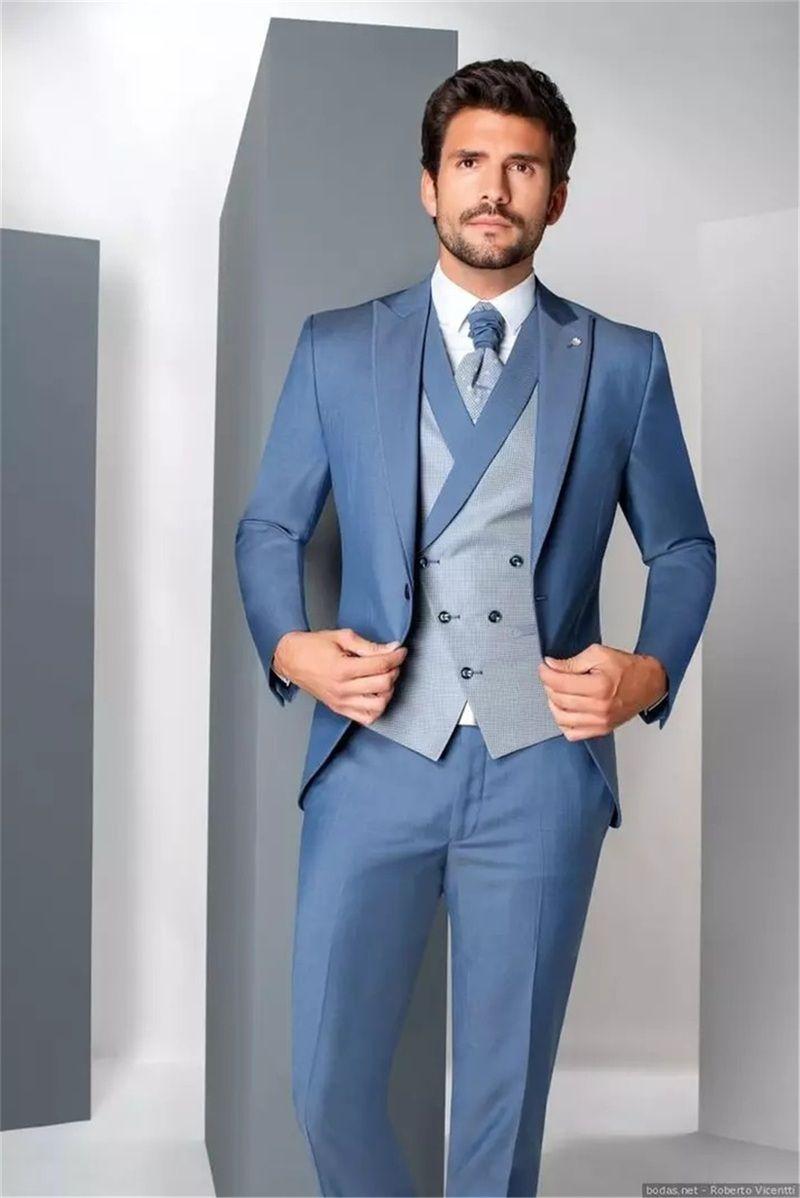 Gorgeous Men Suits Newest 3 Pieces Wedding Tuxedos Custom Made Cotton Handsome Formal Blazer Business Coat+Pant+Vest