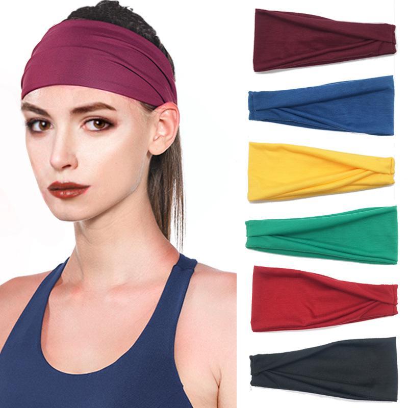 Бесплатные DHL ins Женщины Сплошные Йоги бегущий пот хлопчатобумажные эластичные повязки Широкие растягивающиеся волосы мода женщина головной убор
