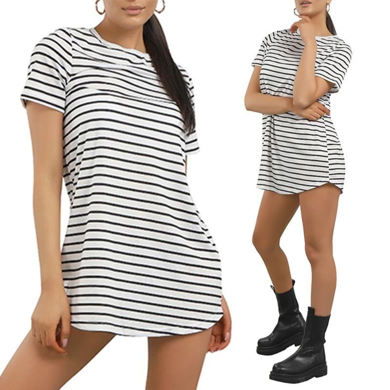 Bayan Casual Kısa Kollu T-shirt Yaz Yuvarlak Boyun Gevşek Çizgili Baskı Bayanlar için Tops T Shirt Temel Uzun Tunik Tees D30 Kadınlar