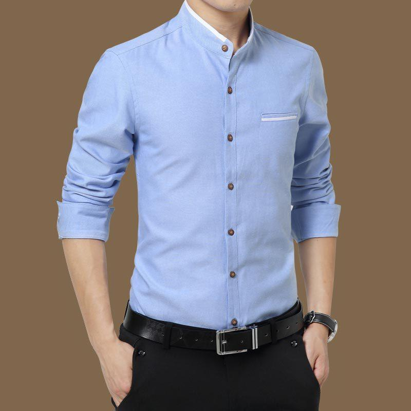 Spring Style Ironing Long-Sleeve Blouse Men'S Summer Slim Fit Casual Wear Stand Collar Shirt Dress Shirts