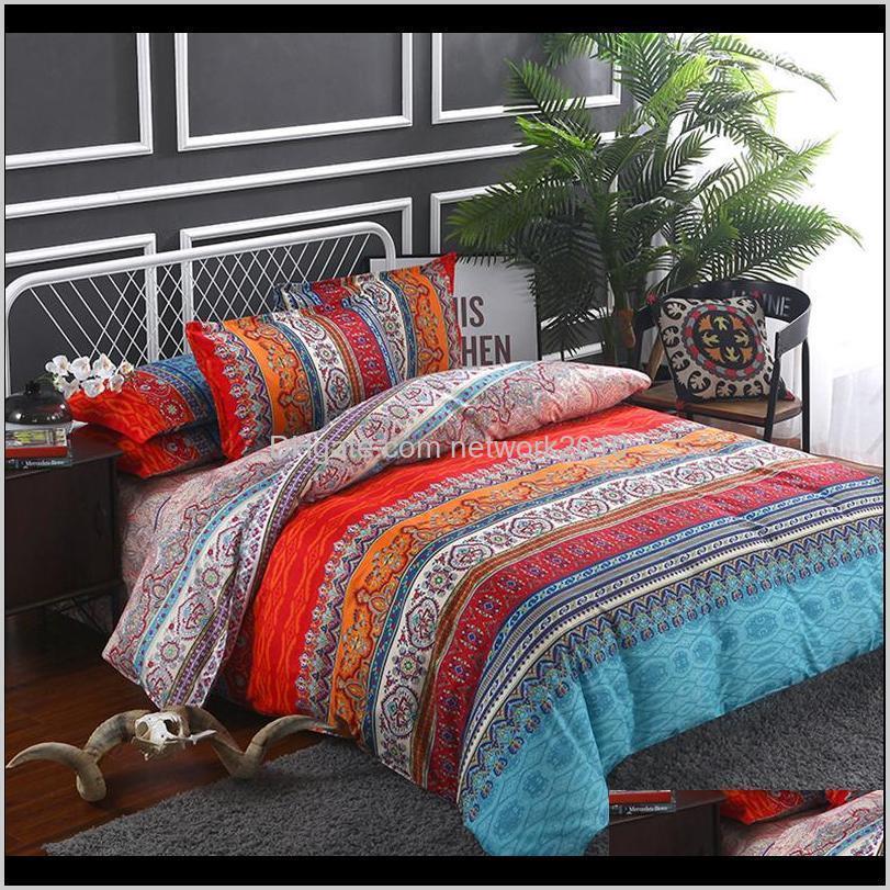 Estilo étnico Bohemio 3D Edredón de cama Conjuntos de ropa de cama Mandala Duvet Funda Conjunto de sábanas de invierno Funda de almohada Reina King Size Ropa de cama L0CC3