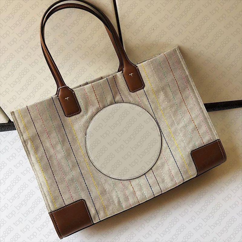 Designer toterryborch leinwand große taschenbeutel echtes echtes leder griff top qualität frauen schulter handtaschen mode handtaschen