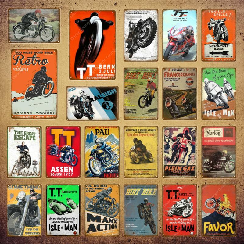 2021 Dirt Vélo Métal Peinture Affiche rétro Moto Courses Plaque Mur Art Signe Plaque Plaque Pub Bar Garage Home Décor Isle of Man Signes Taille 30x20cm