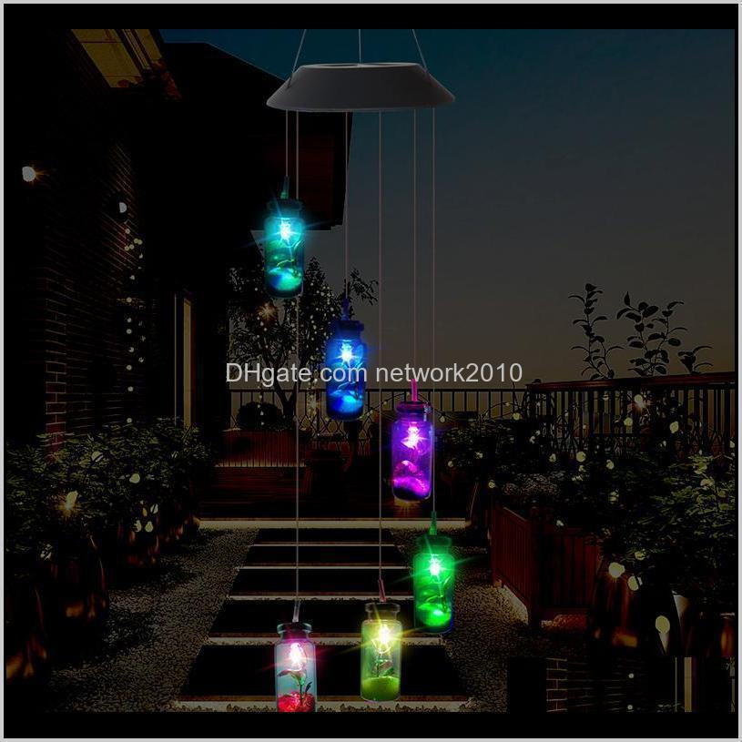 Decorations Patio, Lawn & Drop Delivery 2021 Led Solar Light Outdoor Wind Chimes Lights Romantic Wishing Bottle Starfish Windbell String Lamp