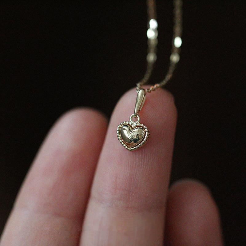 Sterling Silber 14K Gold Einfache empfindliche Herz Anhänger Halskette Frauen Mode Nette Party Schmuck Zubehör Halsketten