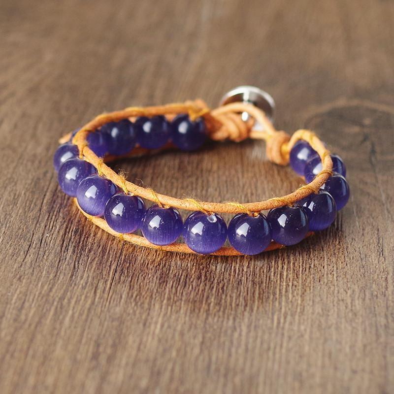 Charm Bracelets 10mm Violet Opal Beads Wrap Leather Strand Stone Bracelet & Bangle Handmade Boho Party Women Jewelry Gift
