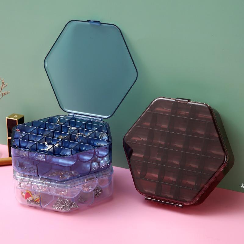 Jewel Case Küpe Kolye Saklama Kutuları Takı Plastik Şeffaf Çift Katmanlı Kapasiteli Aksesuarları Kılıfları Deniz Nakliye HWB7182
