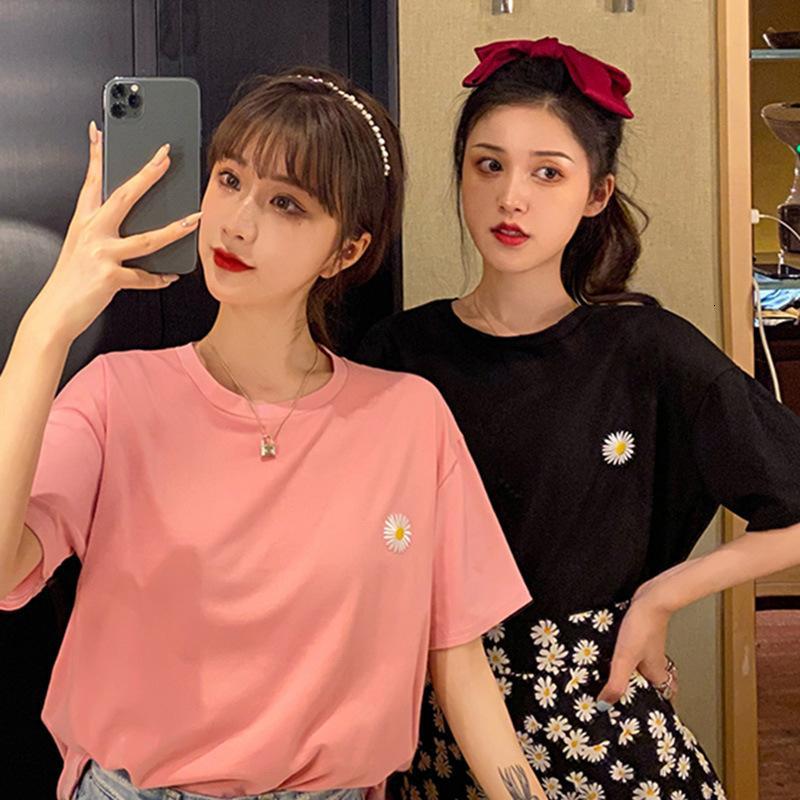 2021 Новая летняя корейская вышивка ромашка женская половина свободного топ и футболка с коротким рукавом