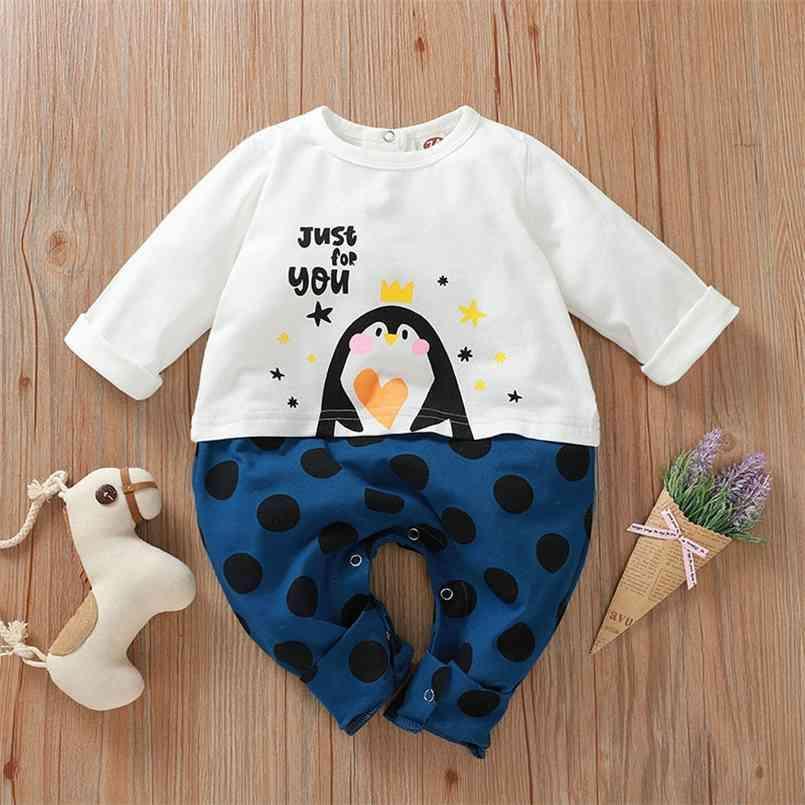 Inverno stile infantile nato baby pagliaccetto in cotone manica lunga stampa patchwork carino tuti vestiti abiti 210623