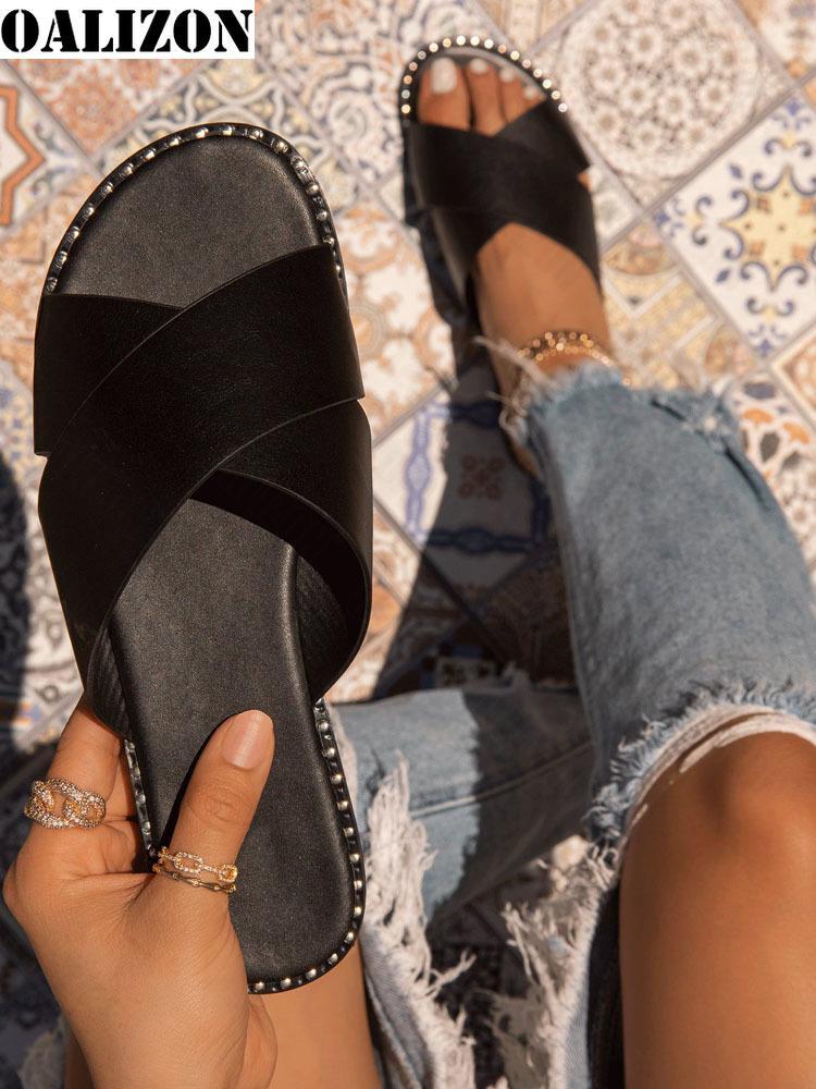 النساء الوجه يتخبط ليوبارد طباعة الصيف النعال أحذية امرأة عارضة الشقق الصليب فتح تو الإناث سيدة الشرائح النعال الصنادل الأحذية
