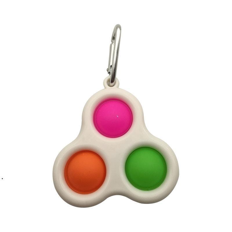 Three Holes Push Bubble Key chain Sensory Fidget Toy Colorful Mini Keychain Stress Reliever Toy Adult Kid NHB6043
