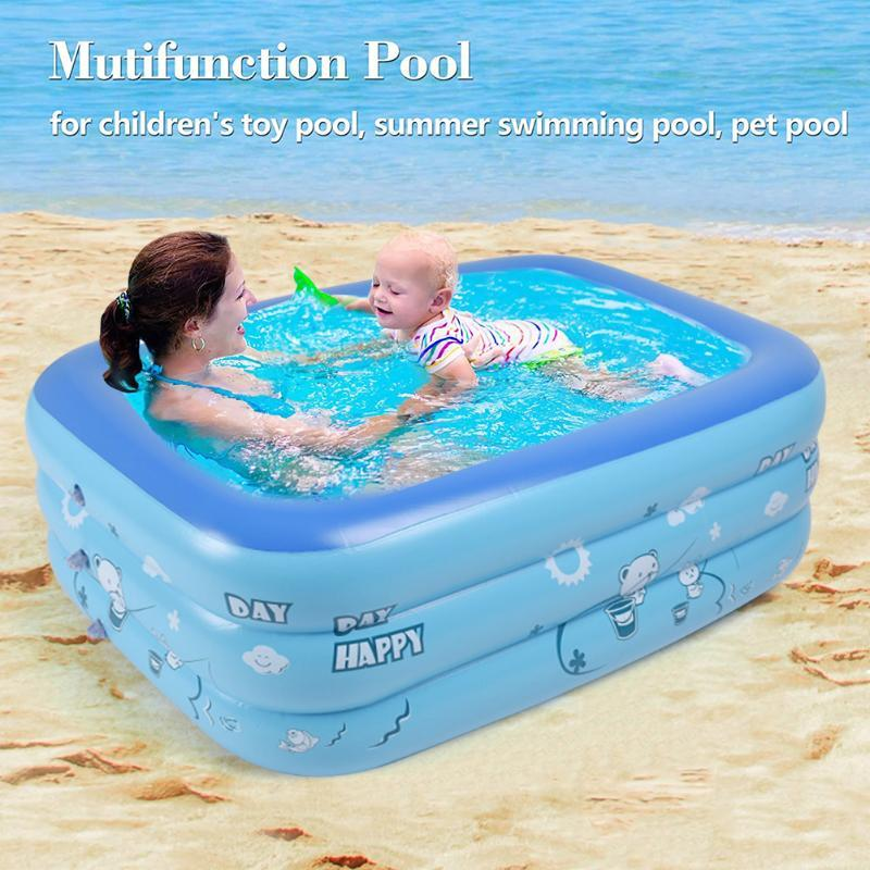 Inflatable Floats & Tubes Children Pool Bathtubs Baby Home Outdoor Square Swimming Pools Basin Water Play 120CM 2/3Layers For
