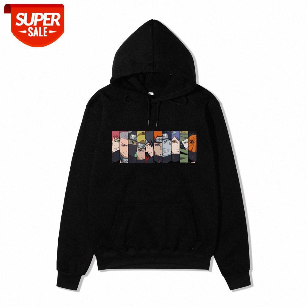 Naruto Plus Velvet Sweater Homens na moda marca Sasuke Payne Uchiha Akatsuki Organização solta jaqueta Anime Hoodie # MX2H