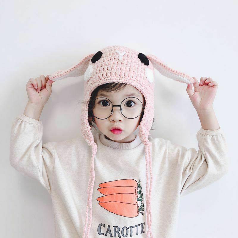 유니섹스 어린이 모자 귀 따뜻한 지원 니트 양모 모자 모자 모자
