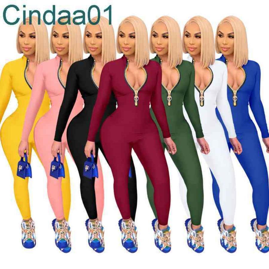Frauen Jumpsuits Designer Slim Sexy Langarm Hosen Reißverschluss Onesies Damen Solide Farbe Eine Stücke Hosen Strampler 7 Farben