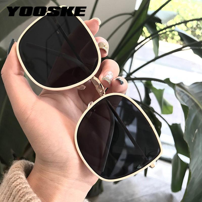 Sonnenbrille Yooske Damen Damenkatze Eye Sonnenbrille Weibliche Metallbrille Frauen Marke Design Sonnenbrille Sonnenschirm UV Eyewear