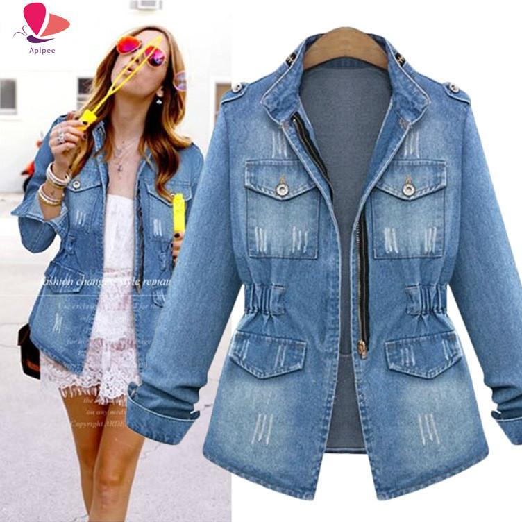 Women's Jackets Plus Size 5XL Women Cowboy Coats Winter Long Sleeve Zipper Denim Jacket Lady Jeans Outwear Coat Windbreaker Female Streetwea