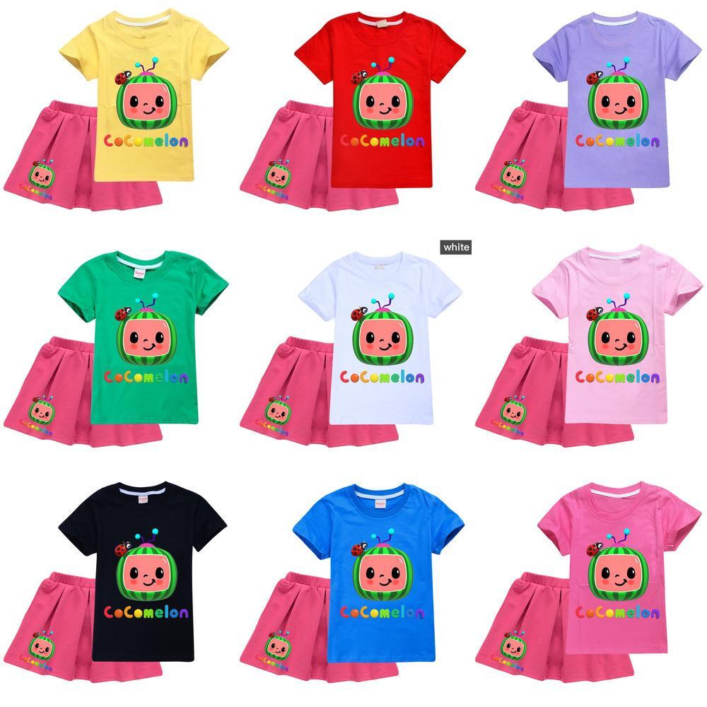 Dos piezas Cocomelon Traje niños niñas de dibujos animados camiseta y vestido Conjunto de diseñadores Sudaderas Tops Tops Faldas plisadas cortas Ropa deportiva Outfit ocasional Ropa G49O9QY