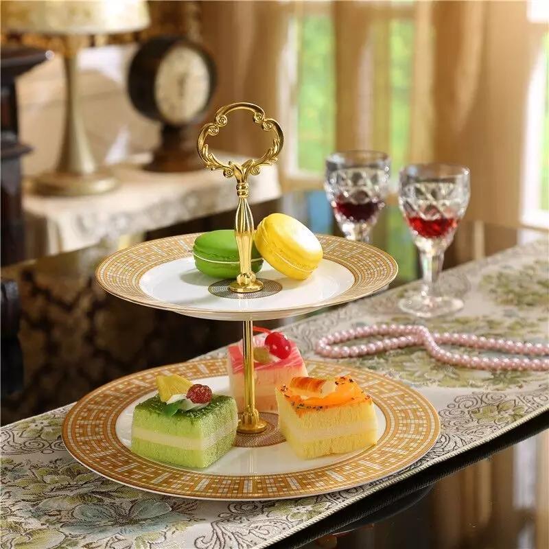 도자기 케이크 스탠드 세트 과일 플레이트 스낵 트레이 생일 선물 디저트 야채 저장 랙 세라믹 과일 바구니 요리