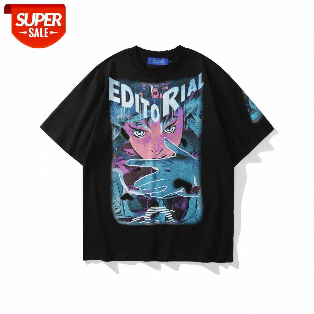 Cartoon Anime Print Kurzarm T-Shirt Männer Europäische und amerikanische Flut Marke Rundhals Halbärme Sommer Street Trend Lose com # LC66