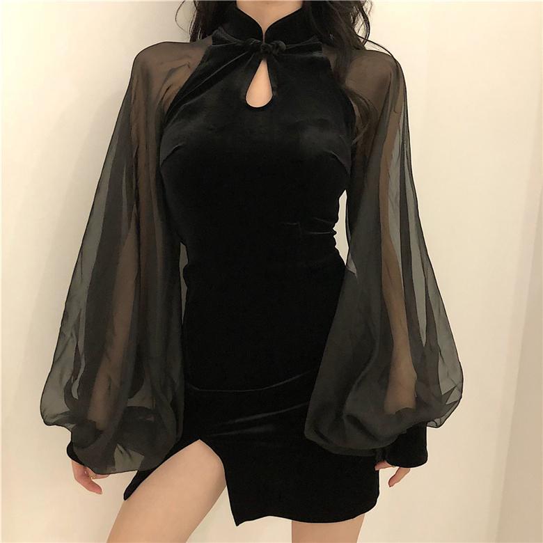 Joinyouth осень зима женское платье халат сетка лоскутный фонарик рукав тонкий леди мини-платья стенд шеи разделить Vestidos 56798