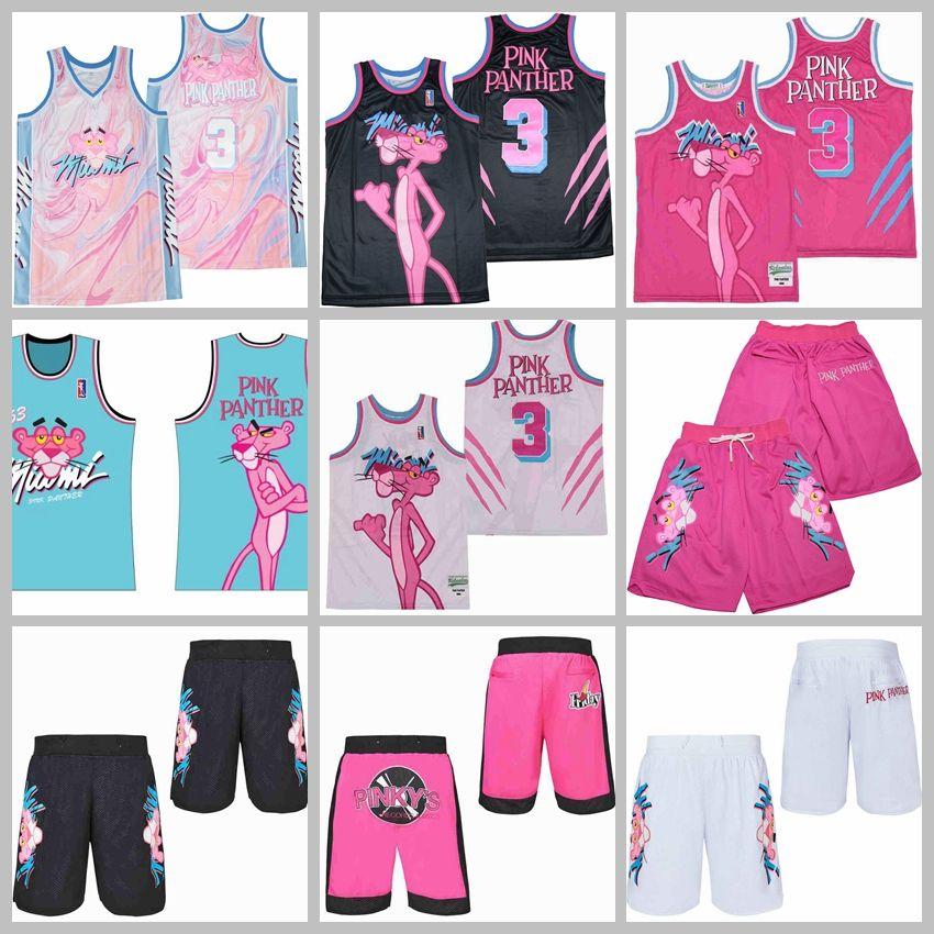 Movie-TV-Basketball 3 Miami Pink Panther Jersey Vice Marmor Black White Shorts trägt limitierte Auflage nähte gute Qualität Männer