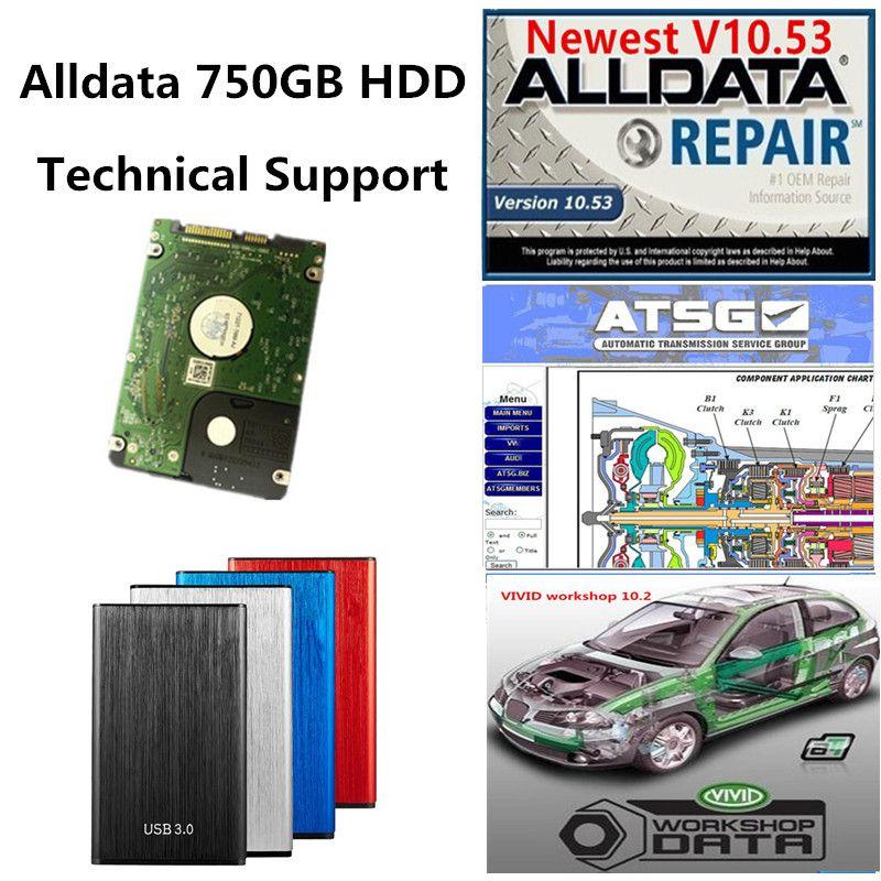 2021 Hot AllData Auto Repair Soft-Ware Todos os dados V10.53 + ATSG + Workshop vívido com 750GB Novo disco rígido