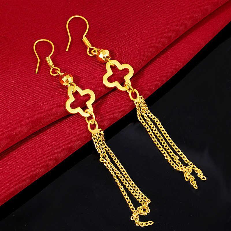 Kadın Dört Yapraklı Yonca 24 K Altın Kaplama Dangle Avize Küpe JSGE131 Moda Düğün Hediyesi Kadınlar Sarı Altın Plaka Takı Küpe
