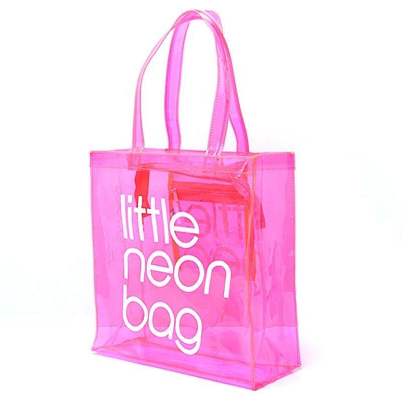 Transparente Custom Fashion Fashion Transluceent Plástico Bolso Impermeable Tote Bolsas de playa Neon PVC Bolsa de Compras