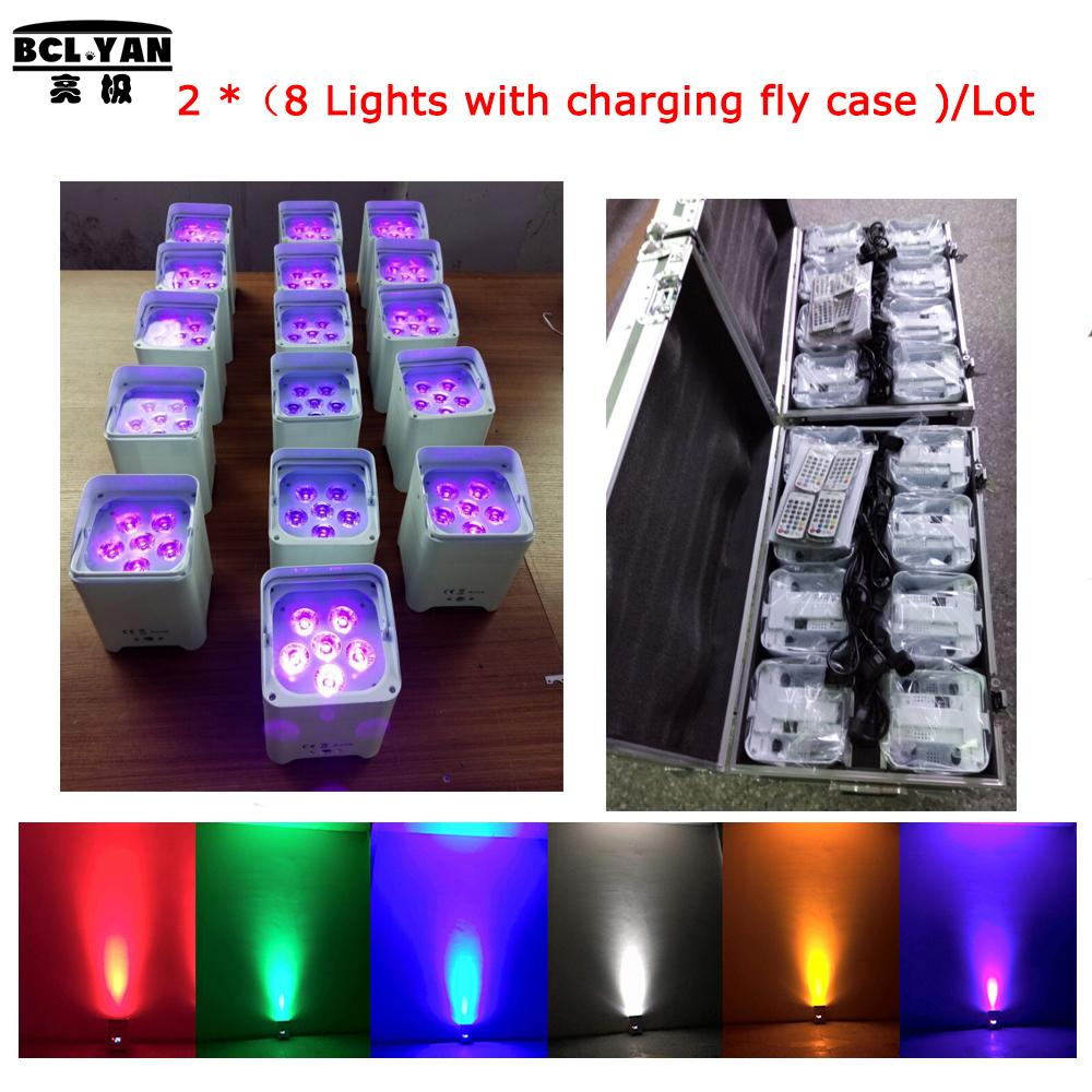 16pcs lights with 2 cases 6*18w Full Aluminum rgbaw uv uplight wireless dmx battery remote control wedding uplihgitng for sale