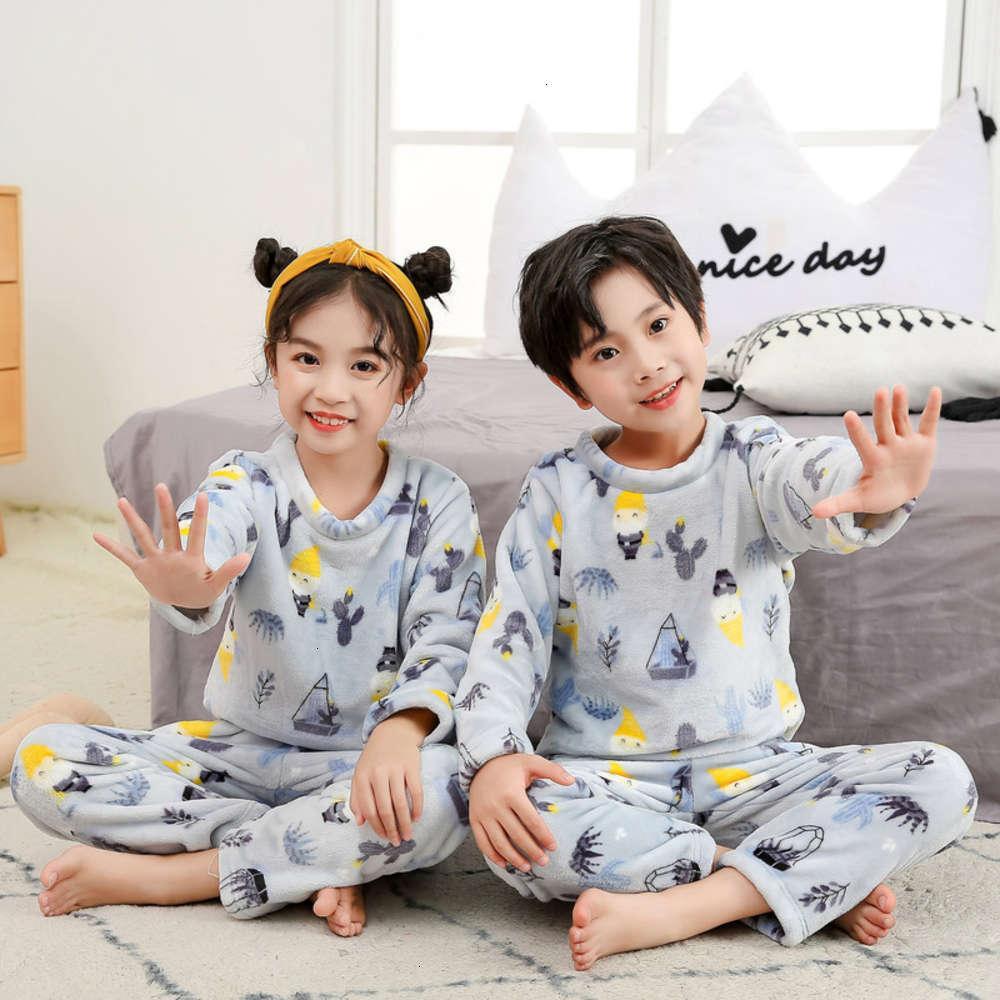 Pajamas Shooting Physique Subsive en flanelle en peluche pour enfants en automne et winteru6wr