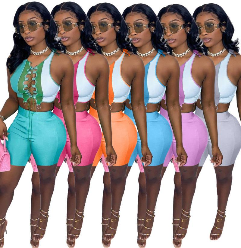 Summer Shorts Outfits Women Two Piece Sets Designer Sexy Round Neck Color Contrast Splicing Strap Hollow Out Sleeveless Vest Slim 859
