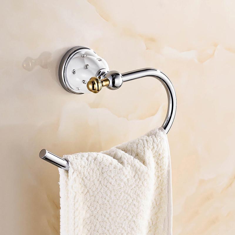 골동품 골드 다이아몬드 황동 수건 반지 욕실 액세서리 제품, 수건 홀더, 수건 바 벽 장착 반지
