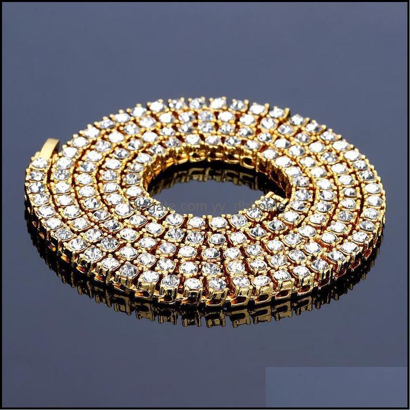 Colliers Pendentifs Bijoux de bijoux 5mm Fly Strass Chaînes doré Sier noir Hop Bling Chaîne Collier Hommes Chunky Bijoux avec GI