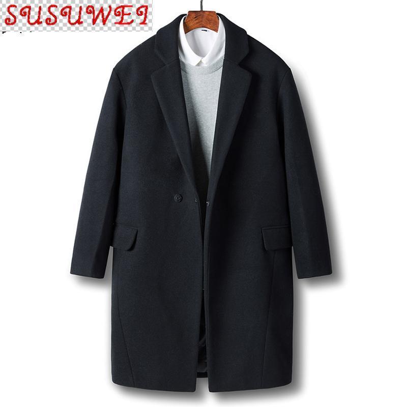 Wollmantel Männer Kleidung 2021 Herbst Winter Lange Jacke Korean Wollüberzug Sobretudo Masculino 8718 KJ4299 Herrenmischungen