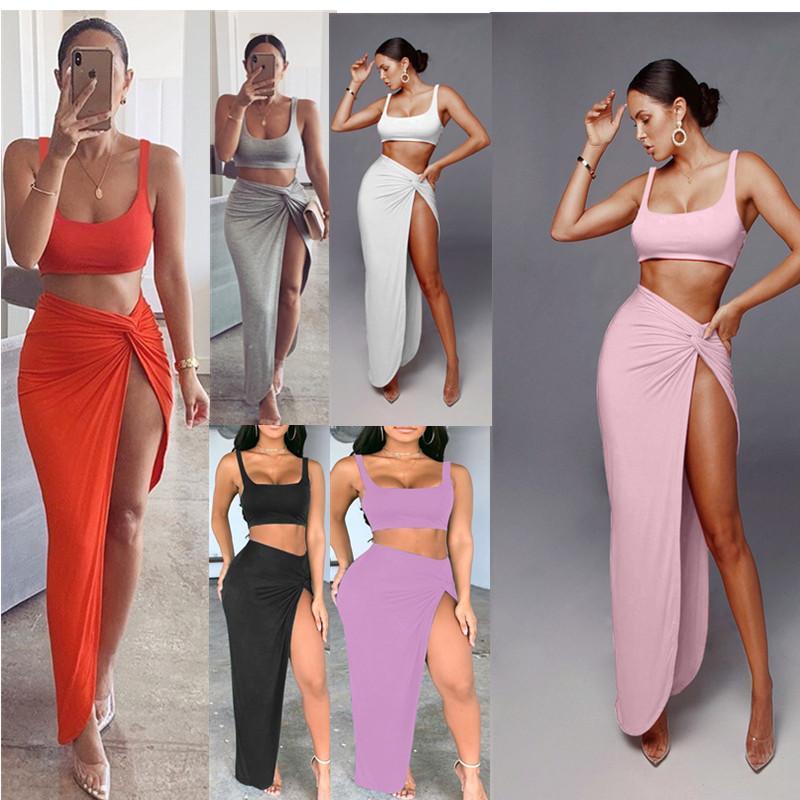 Frauen Mode Kleidung Mittellänge Massivfarbe High Split Zweiteiler Anzug Sommer- und Herbstkleid Mini Club Die neue Eintragung