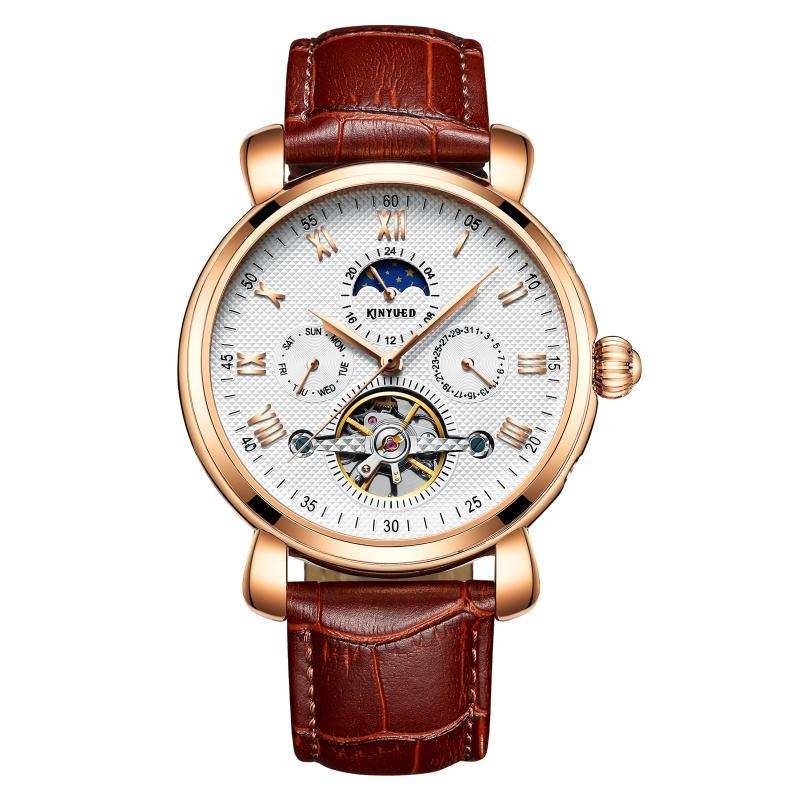 Montres-bracelets Kinyuedtop Gold Day Night Hollow Supprocher Business Mechanical Business Etanche Aiguille lumineuse Horloges Hommes Montres Hommes