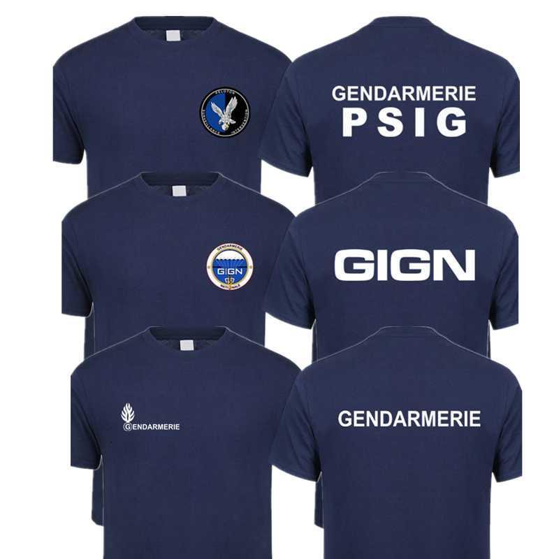 الشرطة الفرنسية قصيرة mouw gendarmerie psig t-shirt رجل QR-042