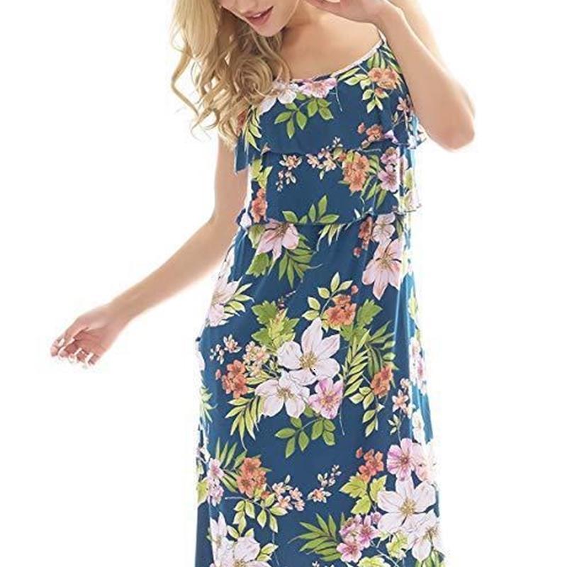 Hosenträger Kleidung Neue Mode Folral Print Kleider Convenience Fast Womens Stillen Freizeitkleid