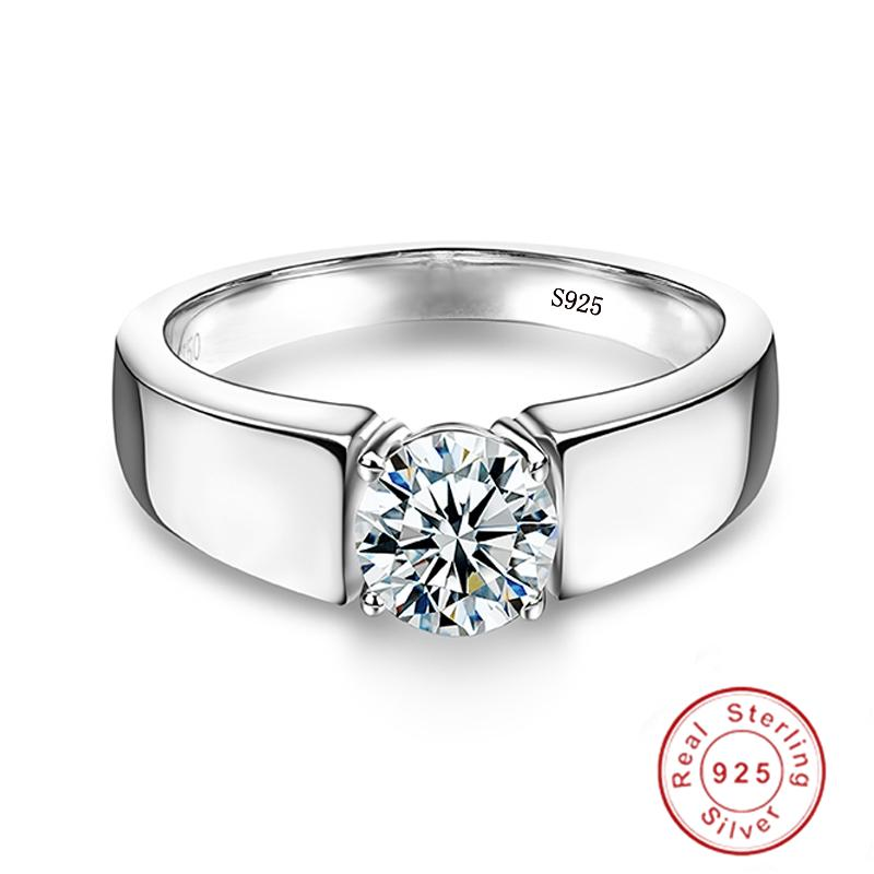 Fine Jewelry Original 925 Solid Sterling Silver Ring Solitaire 6mm 1Ct CZ Diamond Wedding Rings for Women and Men