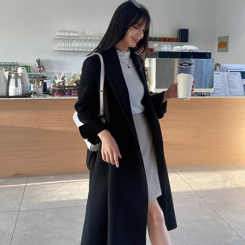 Black long double-sided cashmere coat autumn and winter Korean version of the new high-end slim woolen coat with belt wjl1249