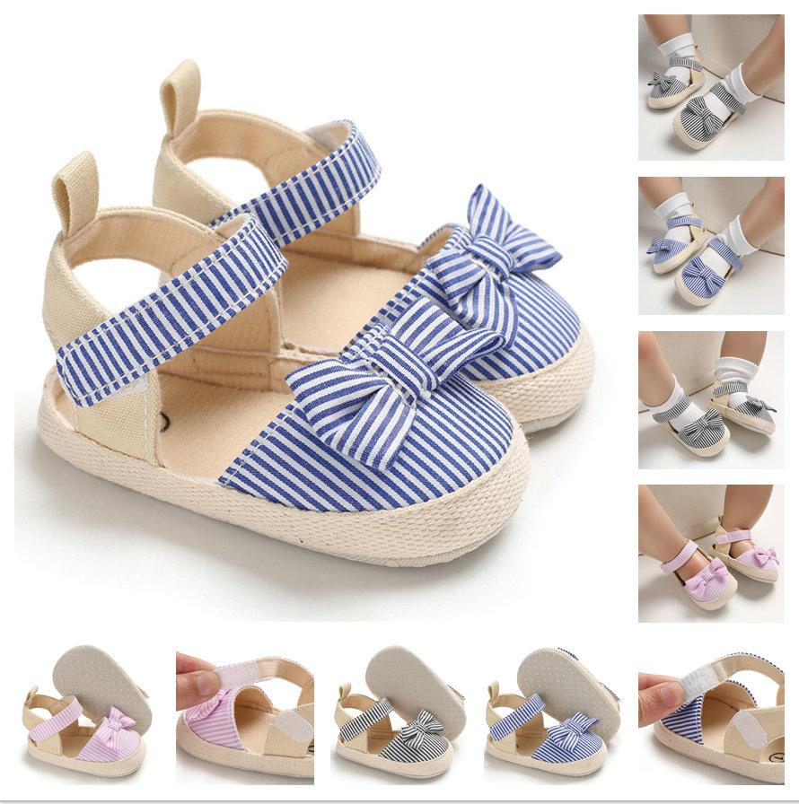baby First Walkers Summer boy Girl Bowknot Sandals Anti-Slip Crib Shoes Soft Sole Prewalkers