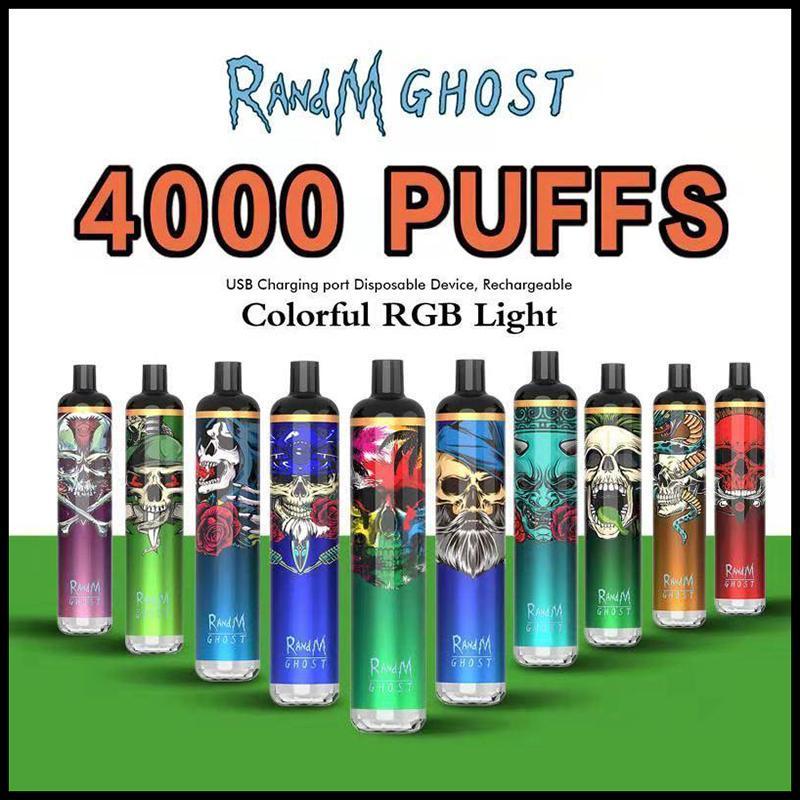 Authentischer Randm Ghost-Einweg-Vape-E-Zigarette mit RGB-Licht 4000Puffs 10ml Vorgefüllter tragbarer Stift 650mAh wiederaufladbarer EciG-Pod-Gerät Vapor Bar-Stick-Original