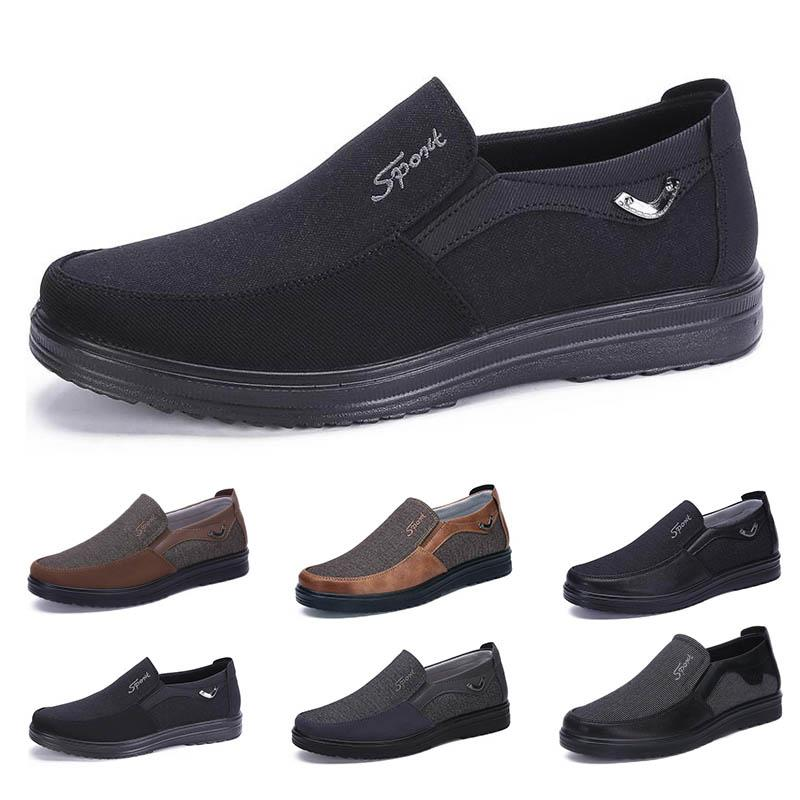 low Fashion Business style mens shoes comfortable breathable black brown dark camel coffee navy soft flats bottoms men office casual sneakers 38-44