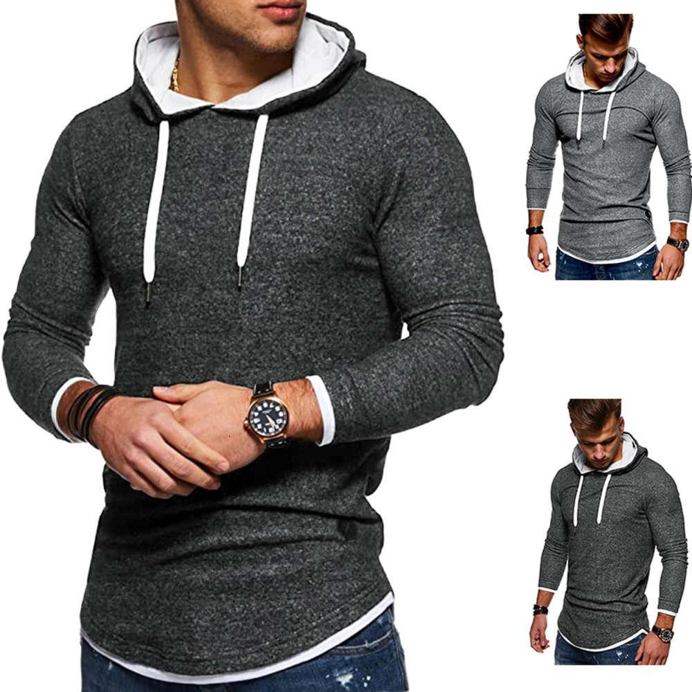 Outono nova moda masculina casual pullover colorido cor sólida cor masculina combinando manga longa t-shirt T174